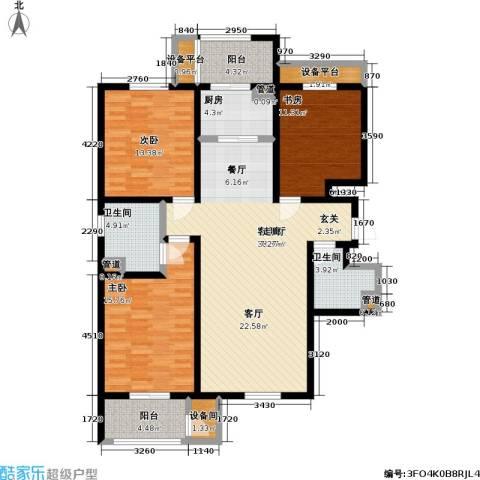 云锦蓝庭3室1厅2卫1厨154.00㎡户型图