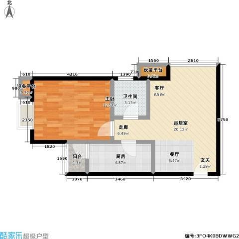 瞰海1室0厅1卫1厨62.00㎡户型图