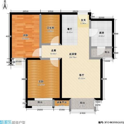 瞰海2室0厅1卫1厨89.00㎡户型图