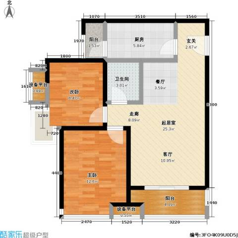 瞰海2室0厅1卫1厨91.00㎡户型图