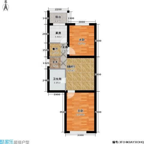 春城小院2室1厅1卫1厨64.00㎡户型图