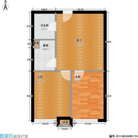 伯伦国际・时代之尚2室1厅1卫1厨53.00㎡户型图