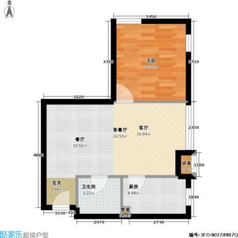 伯伦国际・时代之尚1室1厅1卫1厨47.00㎡户型图