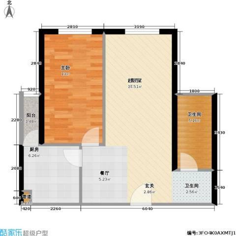 中山国际1室0厅1卫1厨60.00㎡户型图