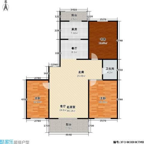 龙腾金荷苑3室0厅1卫1厨113.57㎡户型图