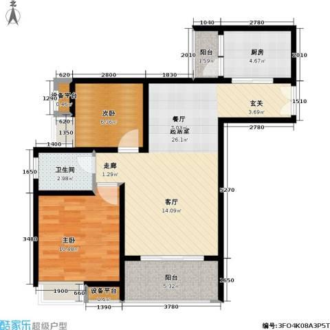重庆金山美林2室0厅1卫1厨62.00㎡户型图