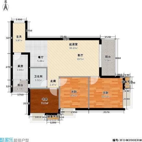 重庆金山美林3室0厅1卫1厨76.00㎡户型图