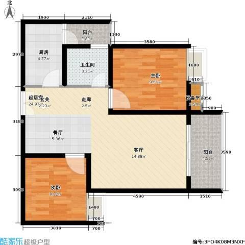 重庆金山美林2室0厅1卫1厨61.00㎡户型图