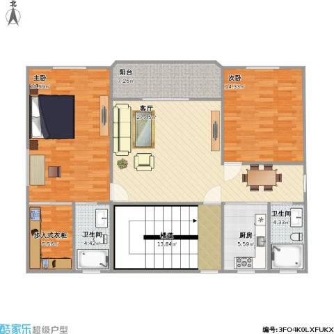 绿湖爱伦堡2室1厅2卫1厨139.00㎡户型图