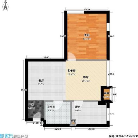 伯伦国际・时代之尚1室1厅1卫1厨50.00㎡户型图