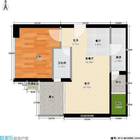 置地逸轩1室1厅1卫1厨40.00㎡户型图