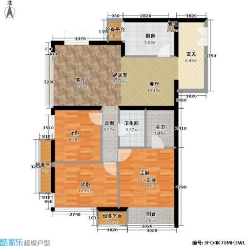 上南春天苑3室0厅1卫1厨123.00㎡户型图