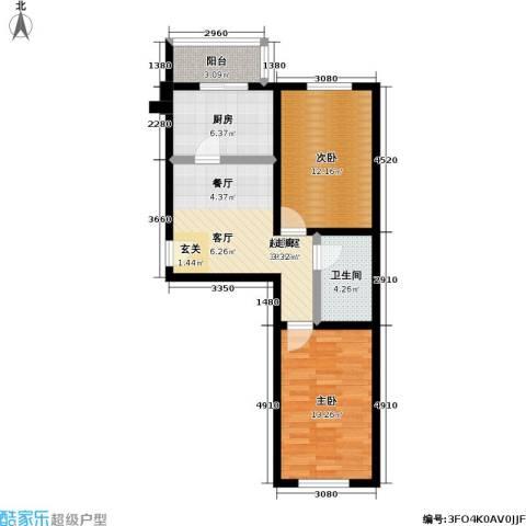 鹏程上漾园二期2室0厅1卫1厨69.00㎡户型图