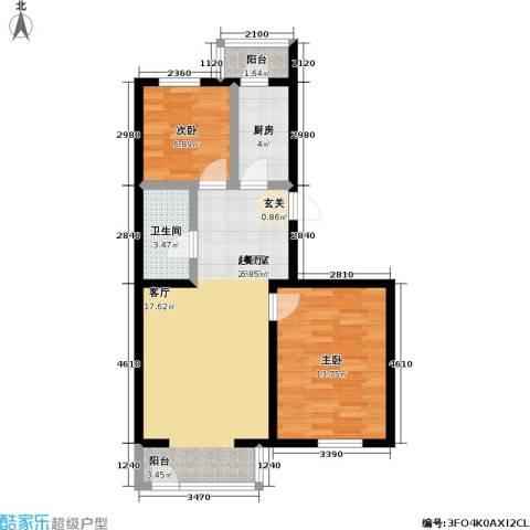 馨丽康城2室0厅1卫1厨78.00㎡户型图