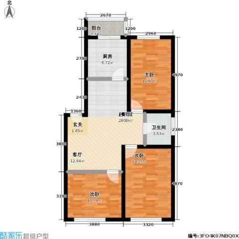 鹏程上漾园二期3室0厅1卫1厨96.00㎡户型图