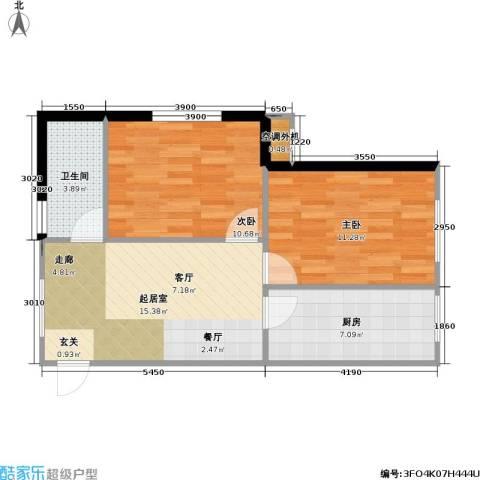 思和苑2室0厅1卫1厨67.00㎡户型图