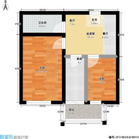 鹏程上漾园二期2室0厅1卫1厨54.00㎡户型图
