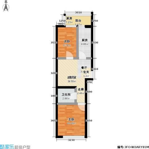 鹏程上漾园二期2室0厅1卫1厨55.00㎡户型图