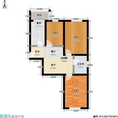 鹏程上漾园二期3室0厅1卫1厨80.00㎡户型图