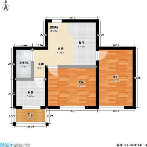 鹏程上漾园二期2室0厅1卫1厨64.00㎡户型图