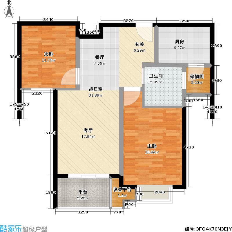 锦绣天第三期92.00㎡房型: 二房; 面积段: 92 -107 平方米; 户型