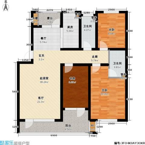 雷明雅阁3室0厅2卫1厨140.00㎡户型图