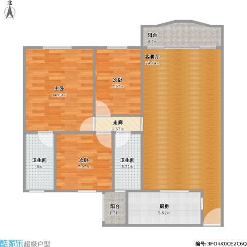 盈翠园3室1厅2卫1厨109.00㎡户型图