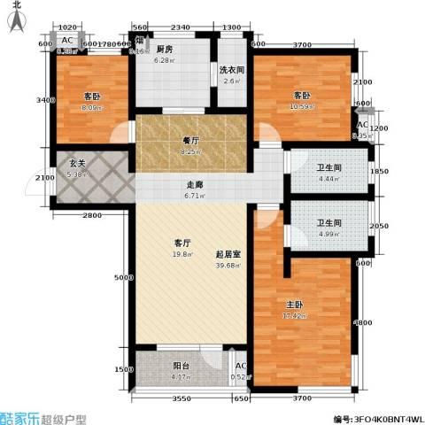 万科魅力之城3室0厅2卫1厨143.00㎡户型图