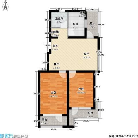 雷明雅阁2室0厅1卫1厨97.00㎡户型图