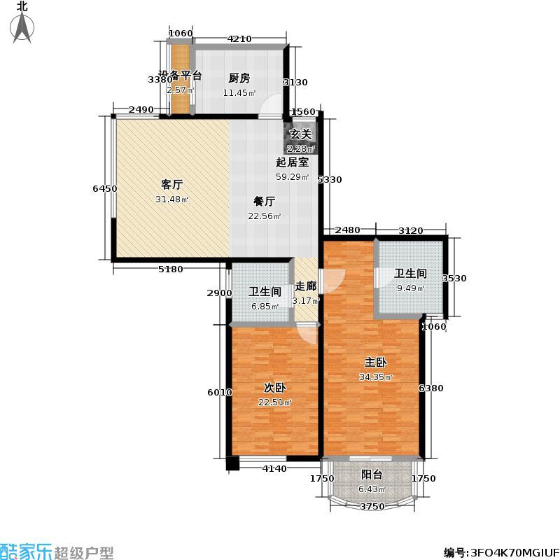 世茂滨江花园三期170.00㎡房型: 二房; 面积段: 170 -170 平方米; 户型