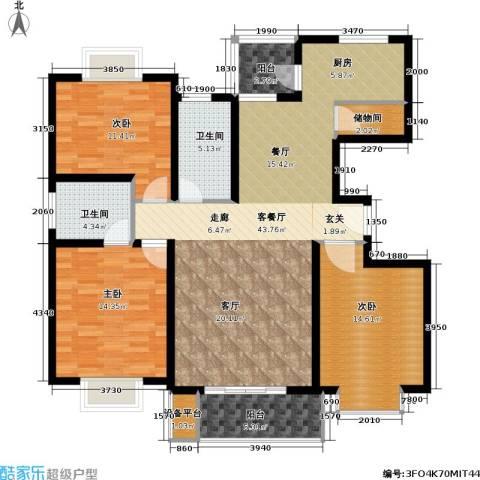 金桥新城二期3室1厅2卫0厨120.00㎡户型图
