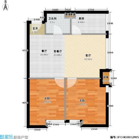 伯伦国际・时代之尚2室1厅1卫1厨61.00㎡户型图