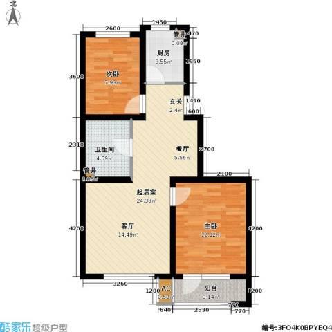 雷明雅阁2室0厅1卫1厨82.00㎡户型图