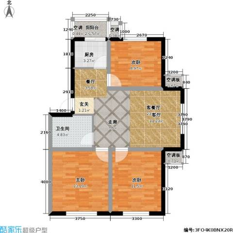 博雅馨园3室1厅1卫1厨95.00㎡户型图