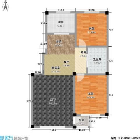 鹏辉裕景轩2室0厅1卫1厨90.00㎡户型图