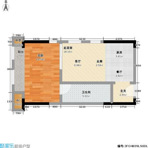 协信 中心1室0厅1卫0厨45.00㎡户型图
