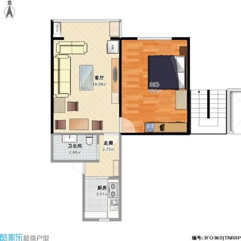 农光里小区1室1厅1卫1厨60.00㎡户型图