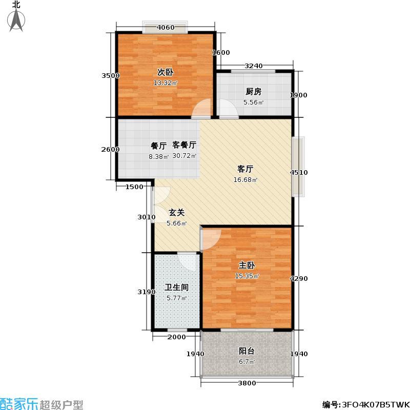 美景雅苑户型2室1厅1卫1厨