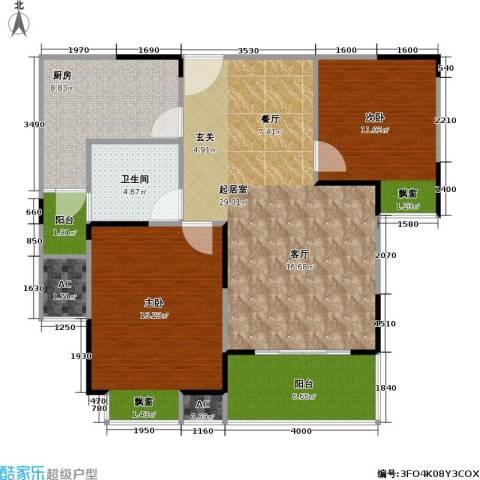 湖岸名家2室0厅1卫1厨109.00㎡户型图