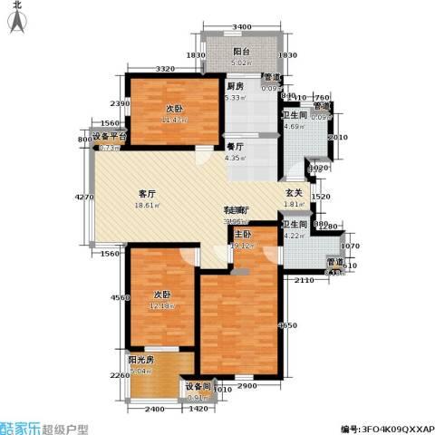 云锦蓝庭3室1厅2卫1厨152.00㎡户型图