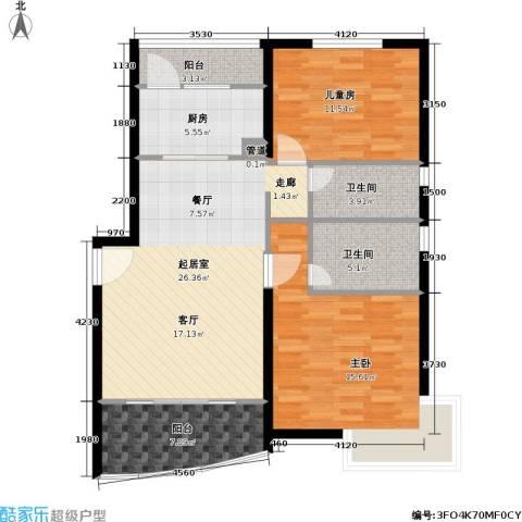 上南春天苑2室0厅2卫1厨88.00㎡户型图