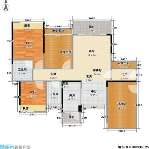尚城国际2室1厅2卫1厨89.00㎡户型图