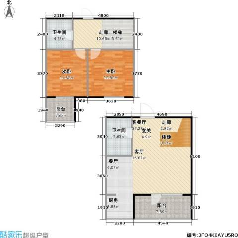 正大江南水乡一期2室1厅2卫0厨101.00㎡户型图