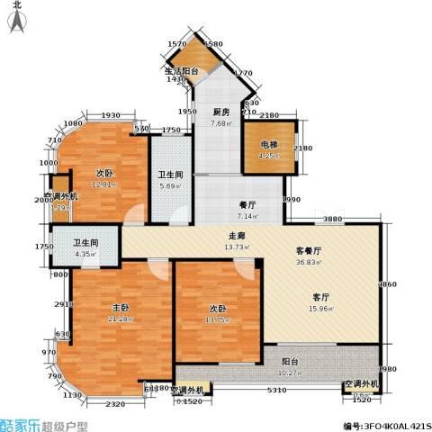 建业森林半岛3室1厅2卫1厨130.00㎡户型图