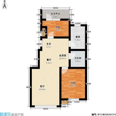 雷明雅阁2室0厅1卫1厨90.00㎡户型图