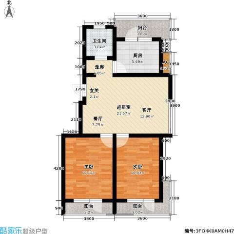 雷明雅阁2室0厅1卫1厨93.00㎡户型图