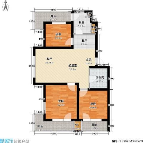 雷明雅阁3室0厅1卫1厨94.00㎡户型图