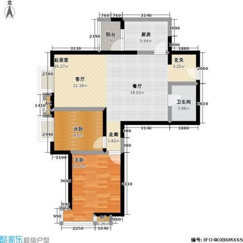 超英天际2室0厅1卫1厨100.00㎡户型图