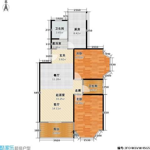 景华世纪园2室0厅2卫1厨90.00㎡户型图