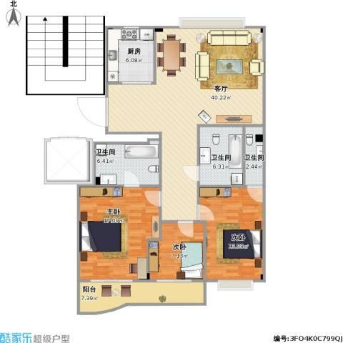 温州南湖小区3室1厅3卫1厨145.00㎡户型图